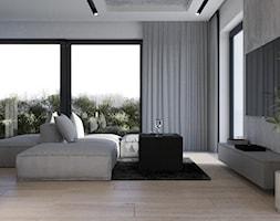 Nowoczesny salon z aneksem kuchennym, beton architektoniczny na suficie - zdjęcie od VISIT HOME - Homebook
