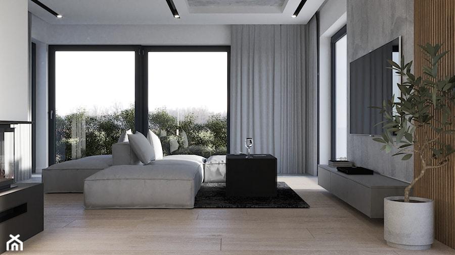 Nowoczesny salon z aneksem kuchennym, beton architektoniczny na suficie - zdjęcie od VISIT HOME