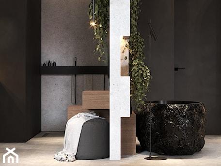 Aranżacje wnętrz - Łazienka: Łazienka w ciemnych kolorach z oryginalną wanną - VISIT HOME. Przeglądaj, dodawaj i zapisuj najlepsze zdjęcia, pomysły i inspiracje designerskie. W bazie mamy już prawie milion fotografii!