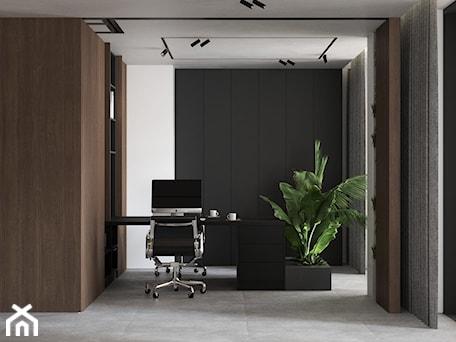 Aranżacje wnętrz - Biuro: Klimatyczne męskie domowe biuro z akcentem roślinnym - dark home office - VISIT HOME. Przeglądaj, dodawaj i zapisuj najlepsze zdjęcia, pomysły i inspiracje designerskie. W bazie mamy już prawie milion fotografii!