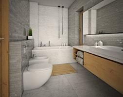 WNĘTRZA BLIŹNIAKA - Duża szara łazienka, styl nowoczesny - zdjęcie od 90 stopni architekci - Homebook