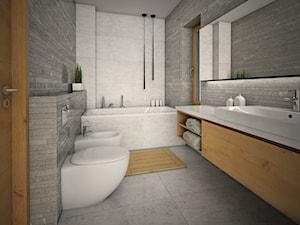 WNĘTRZA BLIŹNIAKA - Duża szara łazienka, styl nowoczesny - zdjęcie od 90 stopni architekci