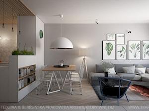 Mieszkanie 101 m2 - Średnia otwarta biała szara jadalnia w kuchni w salonie, styl skandynawski - zdjęcie od TK Architekci