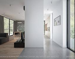 Średni szary biały salon z jadalnią, styl minimalistyczny - zdjęcie od TK Architekci