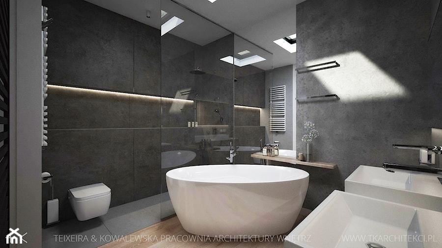 NOWOCZESNE WNĘTRZE DOMU - Duża łazienka w domu jednorodzinnym z oknem, styl nowoczesny - zdjęcie ...