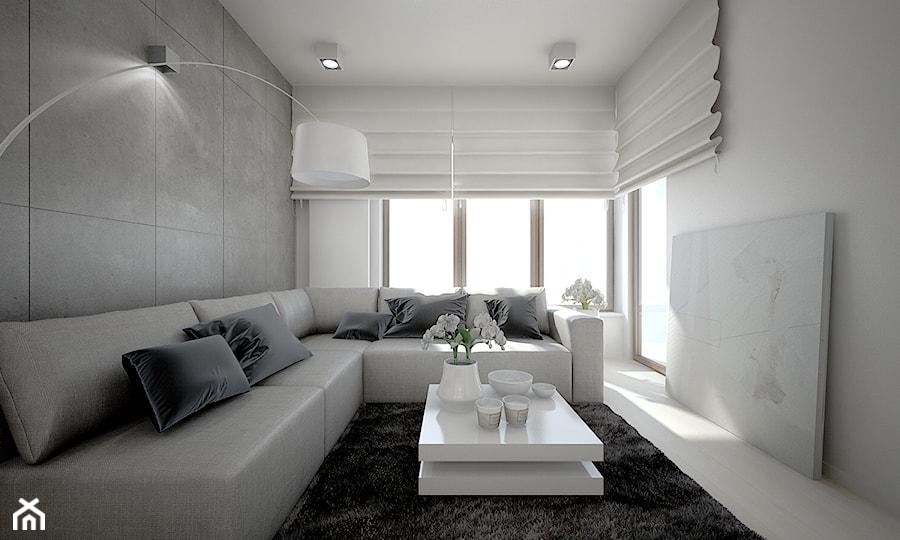 Mieszkanie w bieli ma y salon styl nowoczesny zdj cie for Beton salon