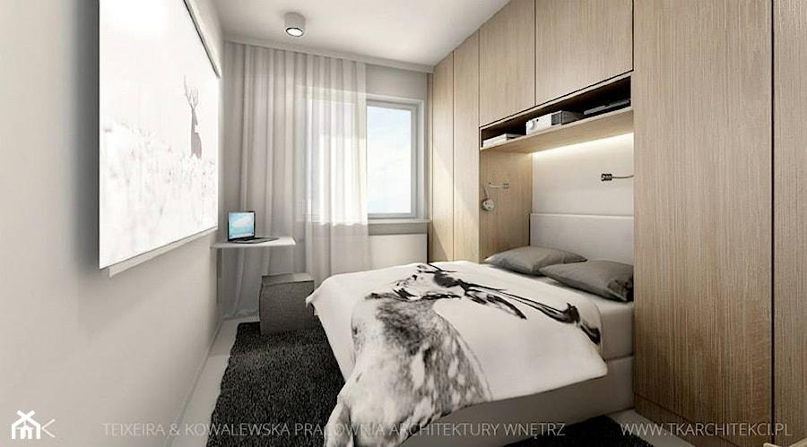Mieszkanie 46 m - Mała biała sypialnia małżeńska, styl nowoczesny - zdjęcie od TK Architekci