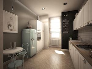 Kamienica - Duża zamknięta biała szara czarna kuchnia dwurzędowa, styl klasyczny - zdjęcie od TK Architekci