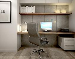Mieszkanie z betonem - Małe szare białe biuro kącik do pracy w pokoju, styl nowoczesny - zdjęcie od TK Architekci