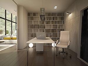 dom w lesie - Średnie szare biuro kącik do pracy w pokoju, styl nowoczesny - zdjęcie od TK Architekci