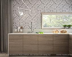 Mieszkanie 155 m2 - Średnia otwarta kuchnia w kształcie litery l w aneksie z oknem, styl skandynawski - zdjęcie od TK Architekci