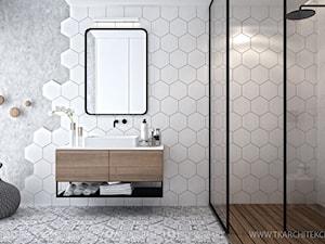 Mieszkanie 101 m2 - Duża biała szara łazienka jako salon kąpielowy z oknem, styl skandynawski - zdjęcie od TK Architekci