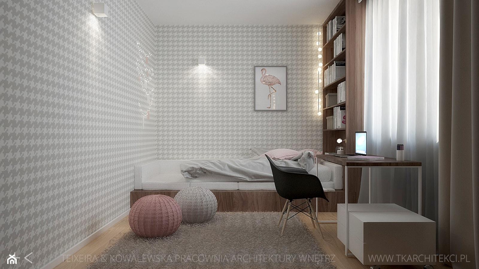 Średni biały szary pokój dziecka dla dziewczynki dla nastolatka, styl nowoczesny - zdjęcie od TK Architekci - Homebook