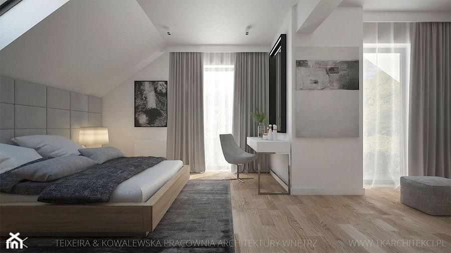dom z drewnem i betonem duża bia�a sypialnia ma�że�ska