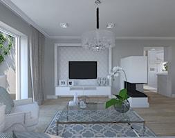 dom w stylu Hamptons - Duży szary salon z kuchnią z tarasem / balkonem, styl klasyczny - zdjęcie od Aleksandra Podsiadła