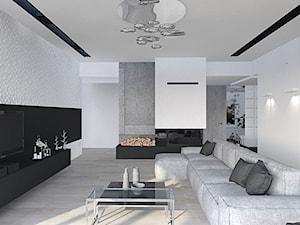 dom Rąbień - Mały szary biały salon, styl minimalistyczny - zdjęcie od Aleksandra Podsiadła