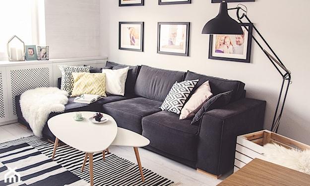 salon w stylu skandynawskim, ciemnoszara sofa, dywan w paski, czarna lampa podłogowa