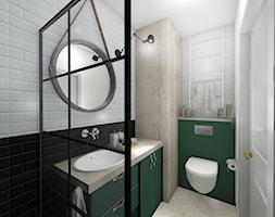 Gdańsk Morena - Mała biała czarna zielona łazienka w bloku w domu jednorodzinnym bez okna, styl vintage - zdjęcie od Meblościanka Studio