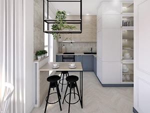 Gdańsk Morena - Mała otwarta biała szara kuchnia w kształcie litery l w aneksie z oknem, styl vintage - zdjęcie od Meblościanka Studio