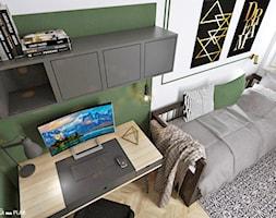 POKÓJ DZIECKA - chłopca / nastolatka - Mały biały zielony pokój dziecka dla chłopca dla dziewczynki dla ucznia dla nastolatka, styl nowoczesny - zdjęcie od Projektantka ma PLAN