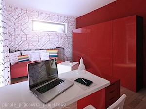 Dom jednorodzinny Łomianki - Średni szary czerwony pokój dziecka dla chłopca dla dziewczynki dla ucznia dla nastolatka, styl nowoczesny - zdjęcie od PURPLE PRACOWNIA