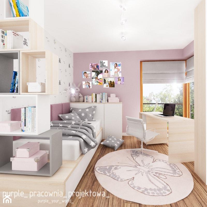 Dom jednorodzinny w Siedlcach - Średni biały pastelowy różowy pokój dziecka dla dziewczynki dla nastolatka, styl nowoczesny - zdjęcie od PURPLE PRACOWNIA - Homebook