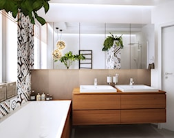 Luksemburg - Średnia beżowa kolorowa łazienka w domu jednorodzinnym z oknem, styl nowoczesny - zdjęcie od PURPLE PRACOWNIA