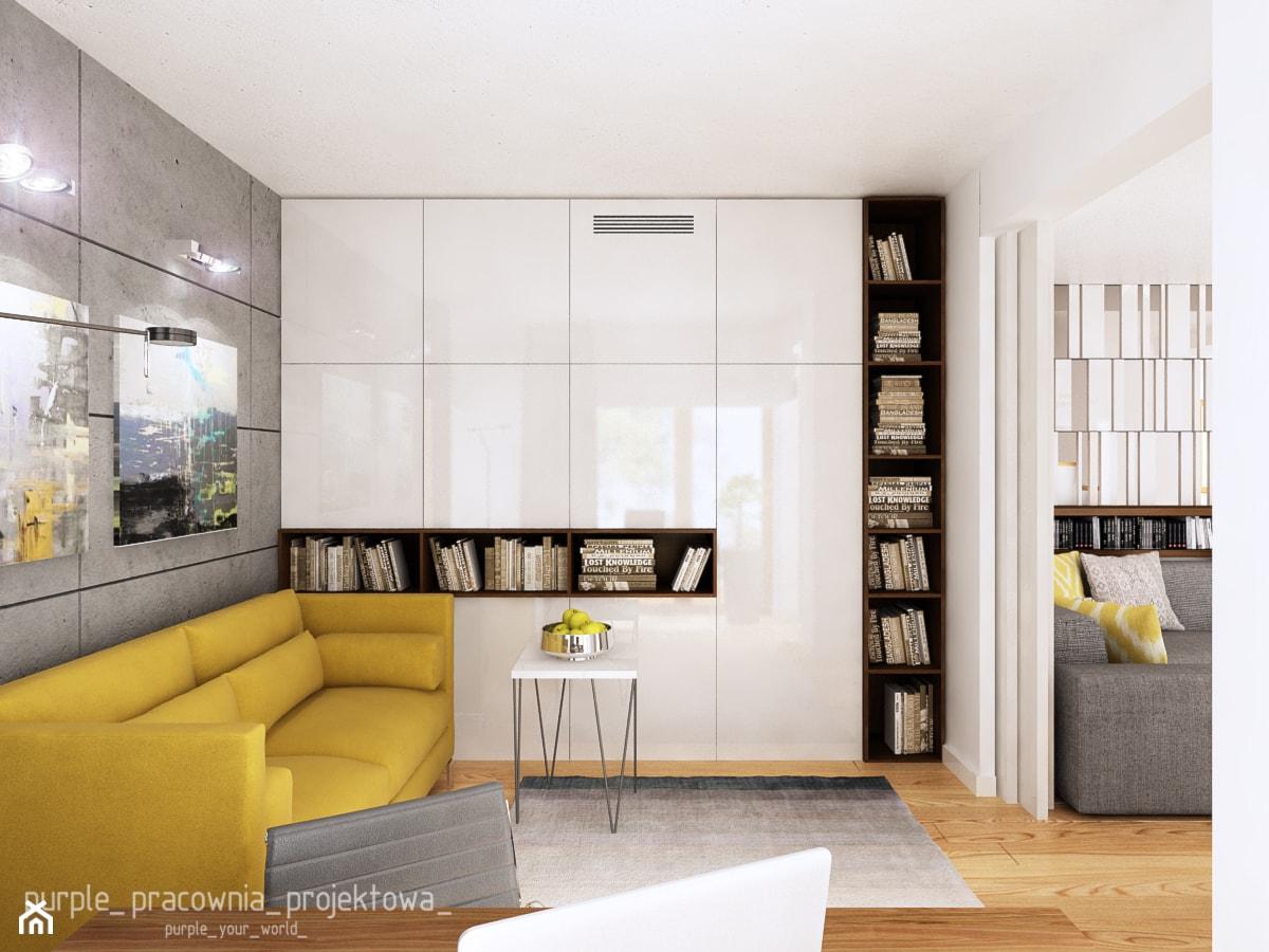 Dom jednorodzinny w Siedlcach - Małe szare biuro kącik do pracy w pokoju, styl nowoczesny - zdjęcie od PURPLE PRACOWNIA - Homebook