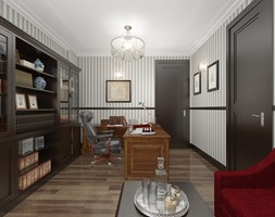 Dom Angola Luanda 850 m2 - Duże biuro domowe kącik do pracy w pokoju, styl tradycyjny - zdjęcie od PURPLE PRACOWNIA