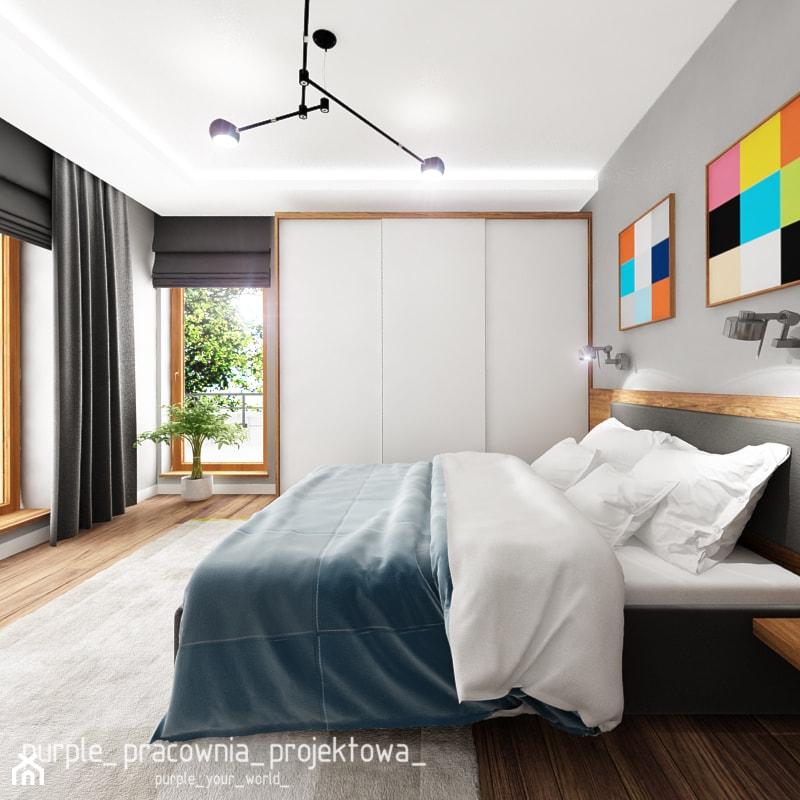 Dom jednorodzinny w Siedlcach - Średnia szara sypialnia małżeńska z balkonem / tarasem, styl nowoczesny - zdjęcie od PURPLE PRACOWNIA - Homebook
