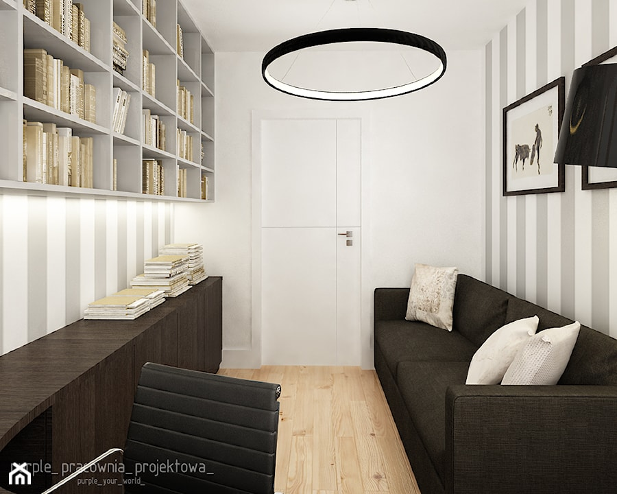 Mieszkanie Wilanów 110 m2 - Małe biuro kącik do pracy w pokoju, styl nowoczesny - zdjęcie od PURPLE PRACOWNIA
