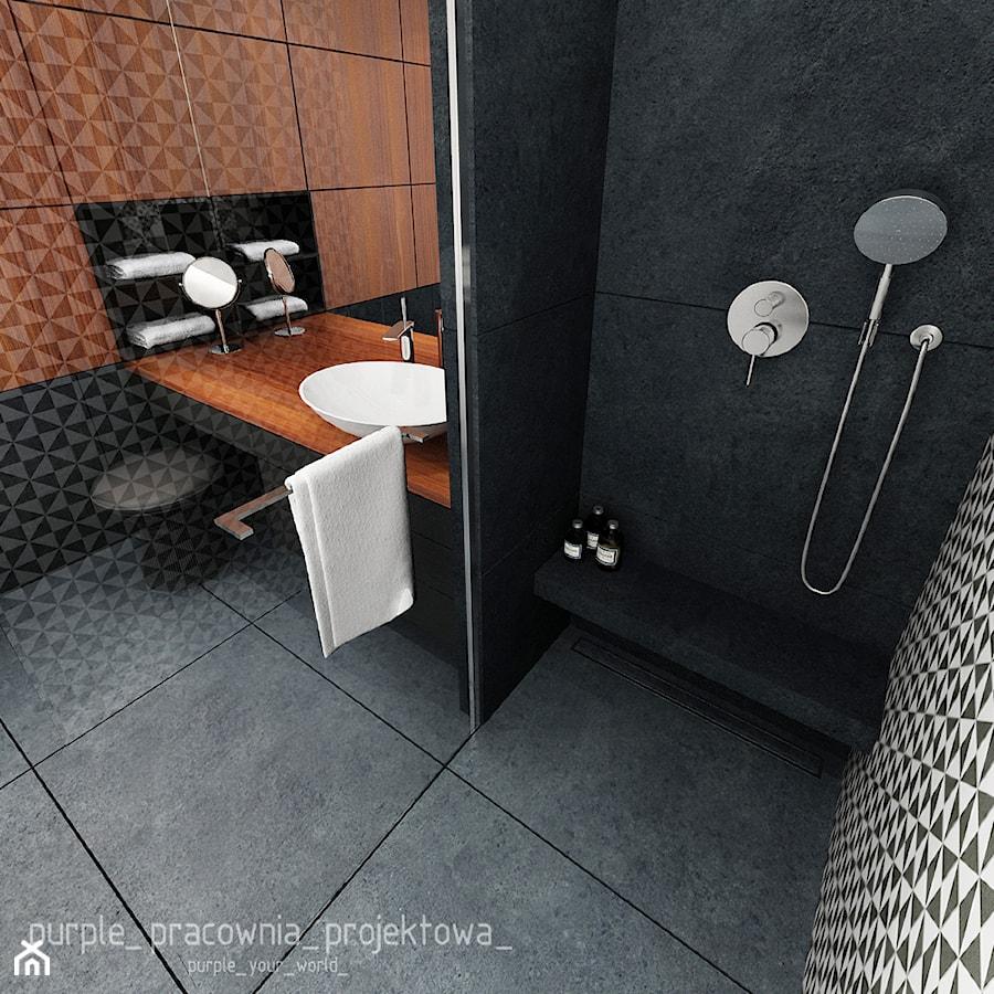 Mieszkanie Wilanów 110 m2 - Średnia czarna łazienka jako salon kąpielowy jako domowe spa, styl nowoczesny - zdjęcie od PURPLE PRACOWNIA