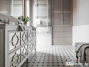 Dom pod Poznaniem - Mała szara łazienka w bloku w domu jednorodzinnym z oknem, styl nowojorski - zdjęcie od SAS Wnętrza i Kuchnie