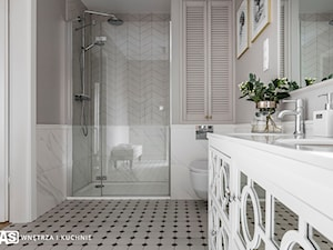 Dom pod Poznaniem - Średnia biała szara łazienka na poddaszu w bloku w domu jednorodzinnym bez okna, styl nowojorski - zdjęcie od SAS Wnętrza i Kuchnie