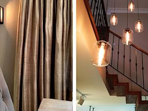 Dom nad jeziorem - Średnie wąskie schody dwubiegowe drewniane metalowe, styl klasyczny - zdjęcie od SAS Wnętrza i Kuchnie