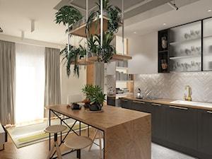 ul. Barwnicza - Średnia otwarta biała beżowa kuchnia jednorzędowa w aneksie z wyspą z oknem, styl industrialny - zdjęcie od Patryk Kowalski Design