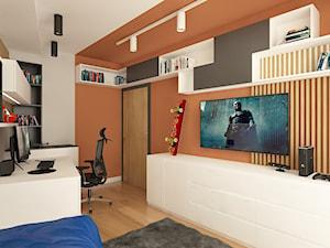 ul. Jana Nowaka-Jeziorańskiego - Średni pomarańczowy czarny pokój dziecka dla chłopca dla ucznia dla nastolatka, styl nowoczesny - zdjęcie od Patryk Kowalski Design