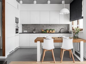 Al. Rzeczpospolitej - Średnia otwarta biała szara kuchnia w kształcie litery l, styl nowoczesny - zdjęcie od Patryk Kowalski Design