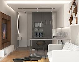 ul. Rydygiera - Mała otwarta szara kuchnia w kształcie litery u w aneksie, styl minimalistyczny - zdjęcie od Patryk Kowalski Design