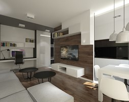 ul. Sarmacka - Średni szary biały brązowy salon z bibiloteczką z kuchnią z jadalnią, styl minimalistyczny - zdjęcie od Patryk Kowalski Design