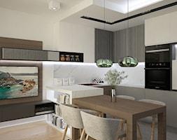 ul. Rogalskiego - Średnia otwarta biała kuchnia w kształcie litery u w aneksie, styl nowoczesny - zdjęcie od Patryk Kowalski Design