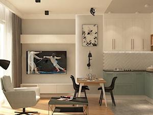 ul. Kozacka - Średnia otwarta biała kuchnia w kształcie litery l w aneksie z oknem, styl eklektyczny - zdjęcie od Patryk Kowalski Design