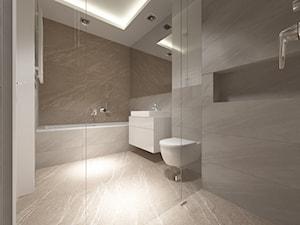 ul. Potoki - Średnia biała beżowa łazienka bez okna, styl minimalistyczny - zdjęcie od Patryk Kowalski Design