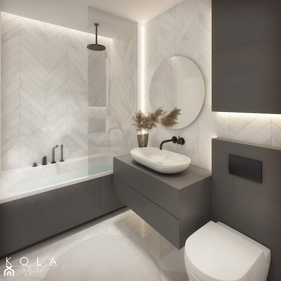 Nowoczesna elegancka łazienka - zdjęcie od KOLA Studio Wizualizacje Architektoniczne