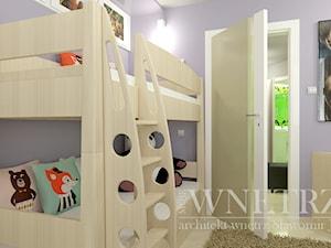 Pokoje dla dzieci i młodzieży - Mały fioletowy pokój dziecka dla chłopca dla dziewczynki dla rodzeństwa dla ucznia dla nastolatka, styl nowoczesny - zdjęcie od MOJE WNĘTRZA Pracownia Projektowa Jamuła Sławomir