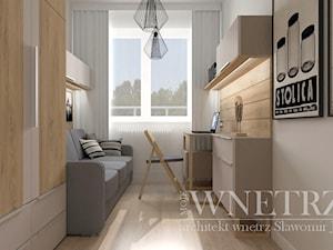 Mieszkanie w Wielkiej Płycie - Rzeszów - Małe beżowe białe biuro kącik do pracy w pokoju, styl nowoczesny - zdjęcie od MOJE WNĘTRZA Pracownia Projektowa Jamuła Sławomir