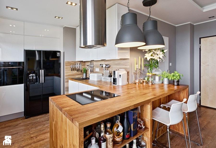 Średnia otwarta kuchnia w kształcie litery l, styl skandynawski  zdjęcie od  -> Kuchnia Prowansalska Nowoczesna