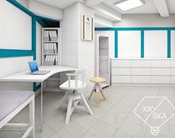 Projekt gabinetu optycznego - Średnie szare biuro kącik do pracy, styl klasyczny - zdjęcie od PRACOWNIA PROJEKTOWA KRYSKA Ewa Łuźniak