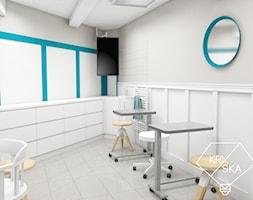 Projekt gabinetu optycznego - Średnie beżowe białe biuro pracownia, styl klasyczny - zdjęcie od PRACOWNIA PROJEKTOWA KRYSKA Ewa Łuźniak