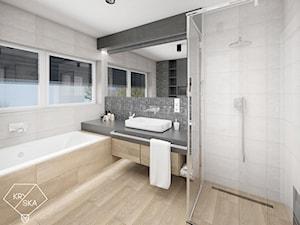 Dwie łazienki w jednym stylu - Średnia łazienka z oknem, styl minimalistyczny - zdjęcie od PRACOWNIA PROJEKTOWA KRYSKA Ewa Łuźniak
